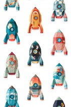 Wallpaper Rocket Matt Rockets White Blue Mint green Orange Red Turquoise