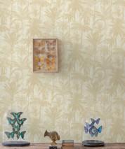 Papier peint Desert Palms Mat Palmiers Blanc crème Beige brun Ivoire clair Beige gris clair