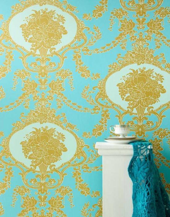 Wallpaper Karima Fine linen look Shimmering pattern Matt base surface Floral damask Turquoise Gold Pastel turquoise