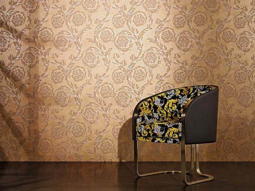 Wallpaper Clarissa matt gold Room View