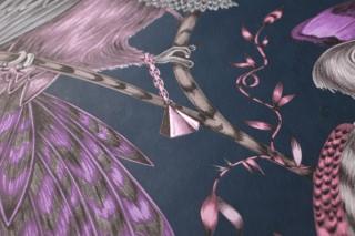 Wallpaper Volturi Matt Bugs Tendrils & branches Birds Ocean blue Pale brown Rose Silver shimmer Violet