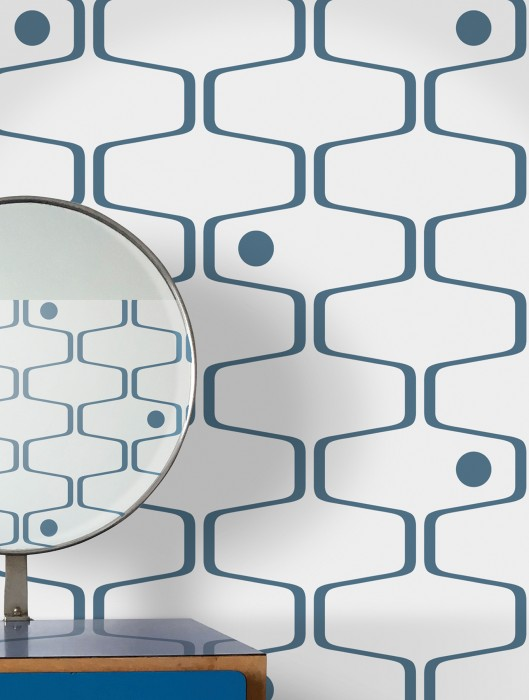 Wallpaper Nirvanus Matt Graphic elements Retro elements White Dark blue