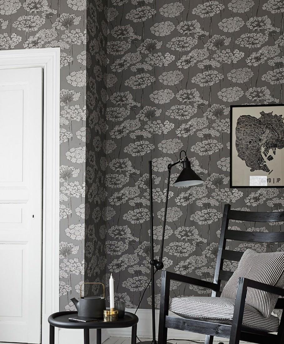 Papel pintado esoka gris antracita blanco gris ceo - Papeles pintados de los 70 ...