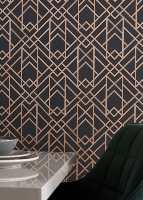 Wallpaper Baya Hand printed look Shimmering pattern Matt base surface Art Deco Graphic elements Anthracite Gold shimmer