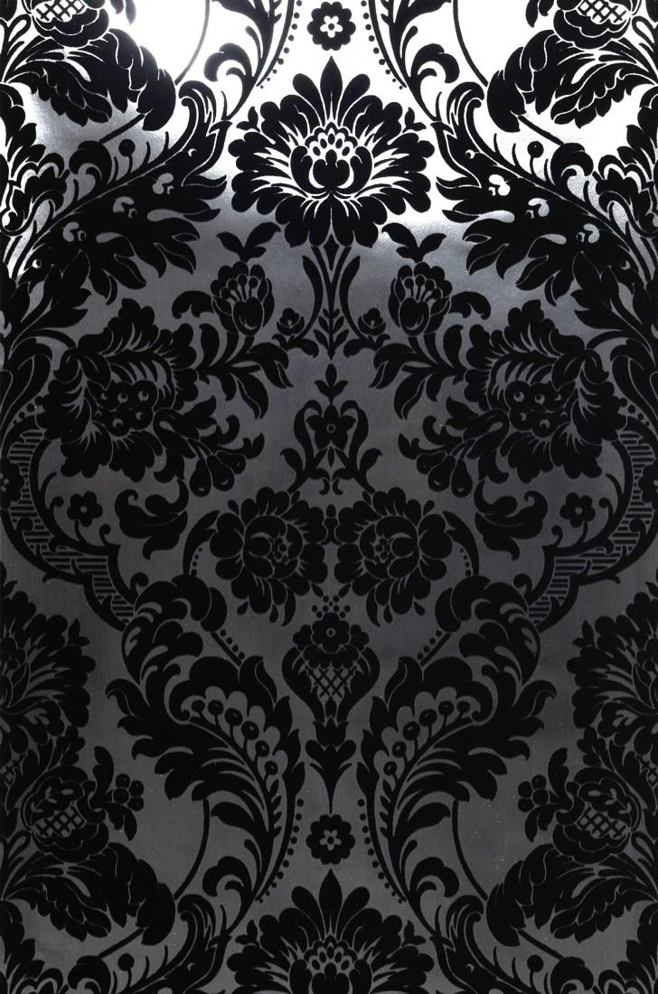 Papel pintado plata lustre negro papeles de los 70 - Papel pintado negro ...