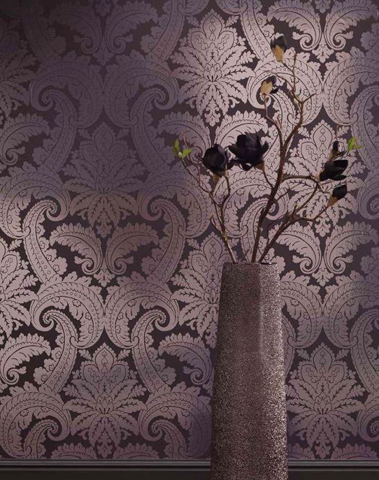 Papel pintado damasco Papel pintado Nemesis plata lustre Ver habitación