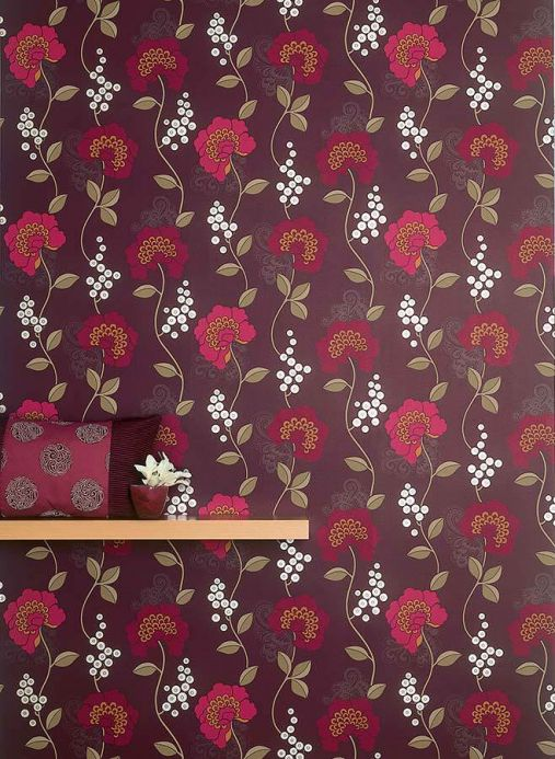 Archiv Wallpaper Mimir dark violet Room View