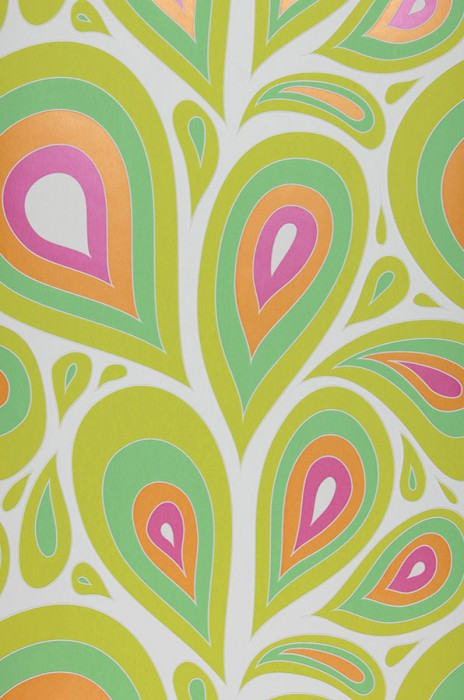 Wallpaper Celestia Matt Retro elements Stylised leaves White Heather violet shimmer Light yellow green Light green Orange shimmer