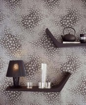 Wallpaper Stopela Matt pattern Shimmering base surface Blossoms Pearl dark grey Anthracite Silver glitter