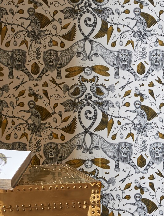 Wallpaper Bobik Shimmering pattern Matt base surface Abstract flora Bugs Lions Birds Cream Grey Pearl gold Black grey