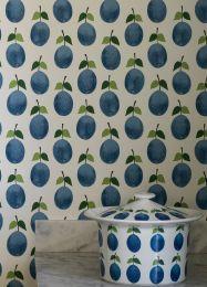 Papel de parede Henriette azul brilhante