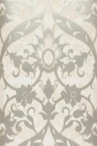 Papel pintado Pomona Patrón reluciente Superficie base mate Damasco floral Blanco crema Marrón pálido Beige grisáceo pálido Plata metálico