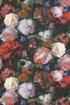 Wallpaper Doriana Matt Looks like textile Flowers Bugs Black grey Brown Green Light pink Red Violet blue