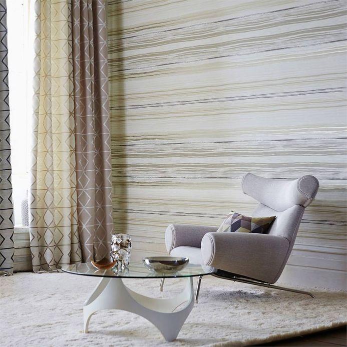 Papel de parede listrado Papel de parede Cosima bege acinzentado claro Ver quarto