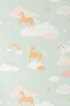 Tapete Rainbow treasures Leimdruck Matt Einhörner Regenbogen Sterne Wolken Weissgrün Altrosa Cremeweiss Honiggelb Pastellorange Weissrosa