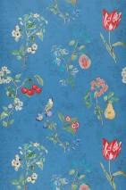 Carta da parati Mallorie Opaco Fioritura Frutti Uccelli Blu Verde Rosso Blu turchese Blu violetto