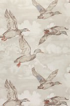 Wallpaper Kampu Matt Ducks Clouds Pale brown grey Brown grey Dark brown Light beige grey Orange brown