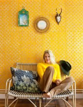 Wallpaper Nangwa Batik Style Hand-printed Matt Shabby chic Circles Dots Squares Beige Maize yellow