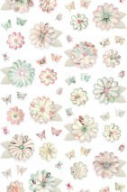 Wallpaper Flowers Matt Flowers Blossoms Bugs Butterflies Cream Pale light green Light ivory Light pink