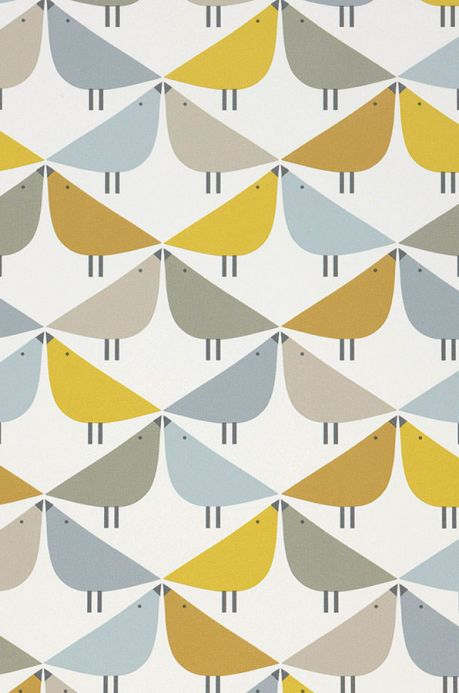 Vintage Wallpaper Wallpaper Marga ochre yellow A4 Detail