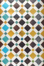 Wallpaper Feria Shimmering Imitation tiles Cream Dark brown Sky blue Maize yellow Turquoise