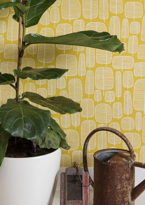 Papier peint jaune Papier peint Little Trees jaune citron Vue pièce