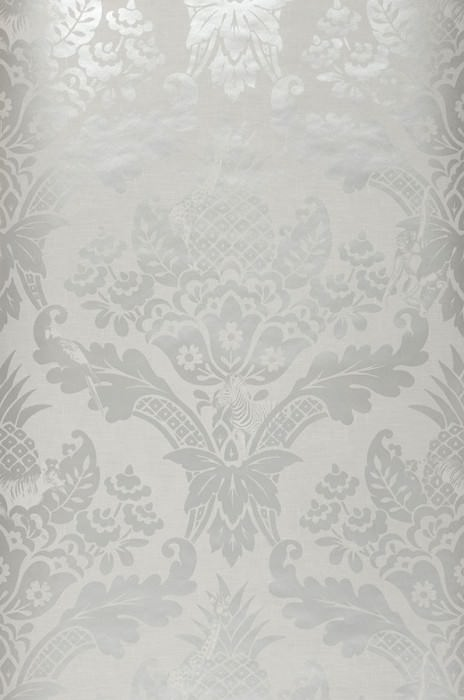 Wallpaper Merino Shimmering pattern Matt base surface Pineapple Floral damask Giraffes Parrots Zebra Light grey Pearl light grey