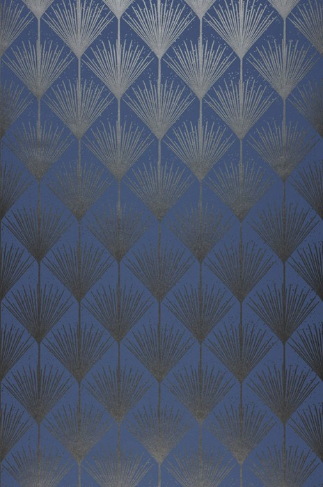 Wallpaper Mayfair Shimmering pattern Matt base surface Art Deco Stylised blossoms Blue Black grey shimmer