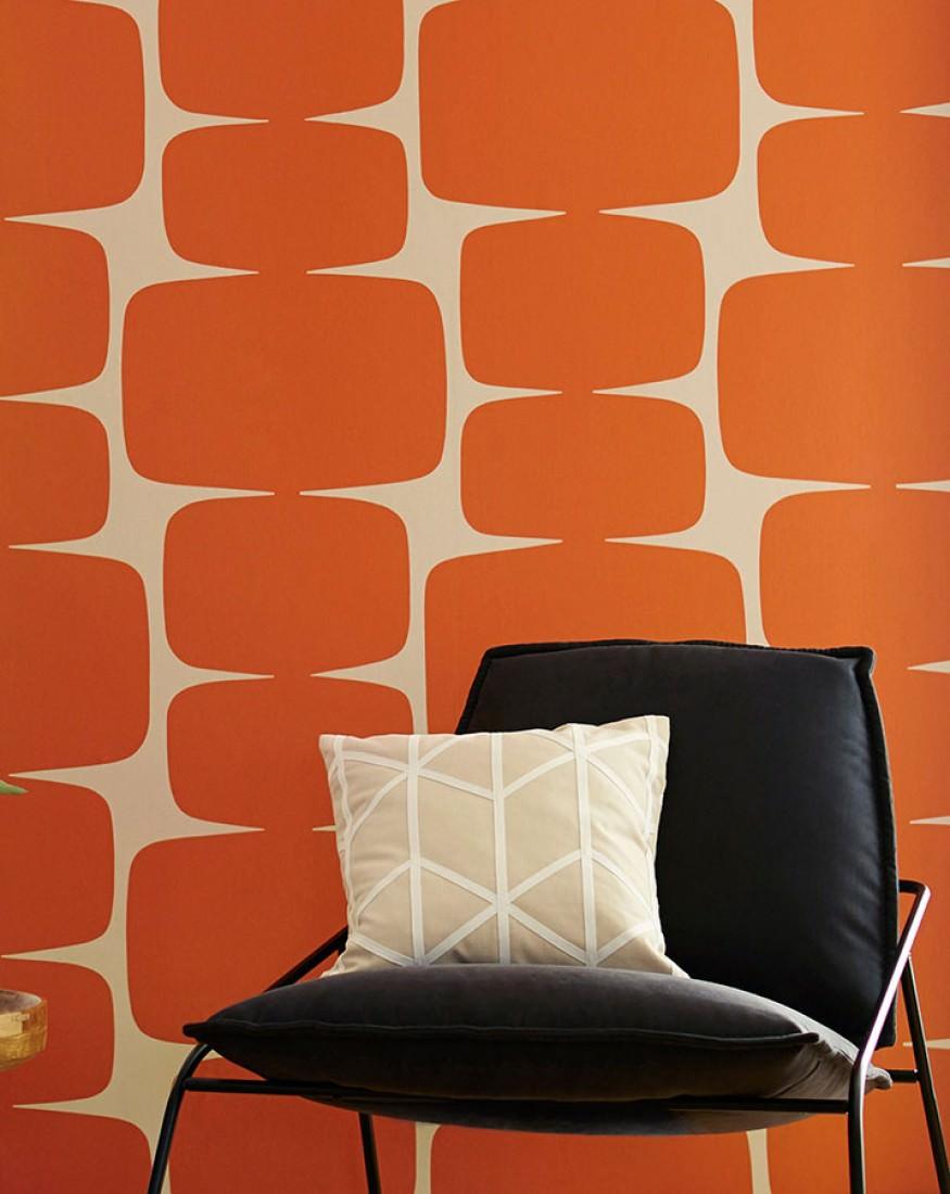 Papier peint Waris (Blanc crème, Orange) | Papier peint des années 70