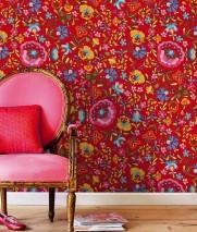 Wallpaper Shakuru Matt Flowers Red Blue Golden yellow Green Pink