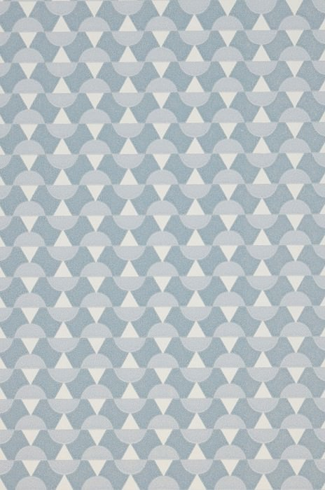 Wallpaper Arles Hand printed look Matt Graphic elements Blue grey Cream Light grey