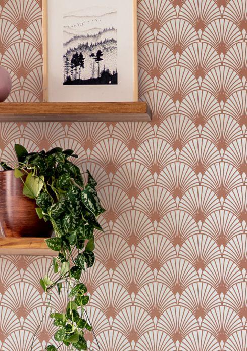 Art Deco Tapeten Tapete Babylone Rosé Gold Schimmer Raumansicht