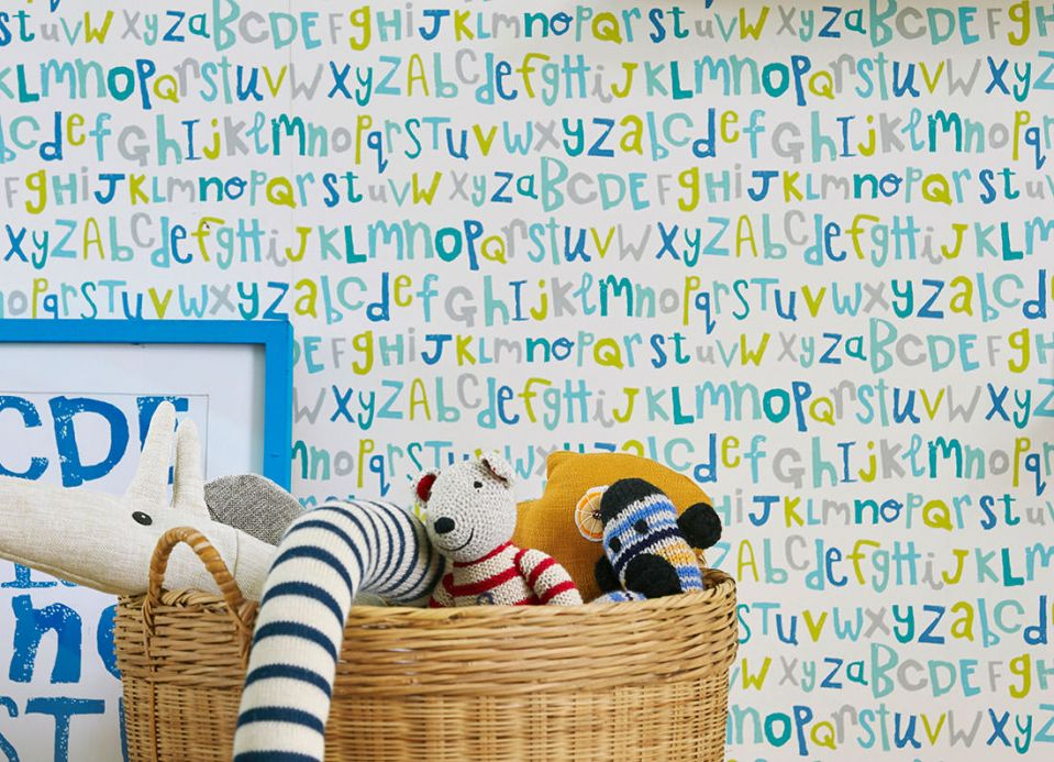 Archiv Wallpaper Letters turquoise blue Room View