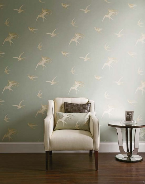Wallpaper Izanami Matt Birds Light blue grey Grey white Light grey beige