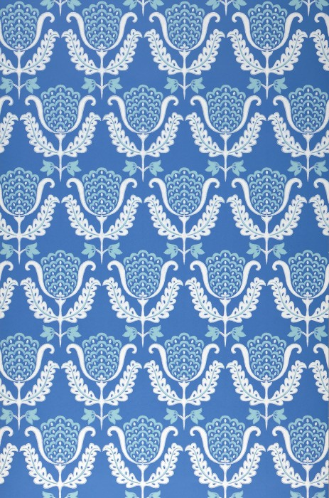 Wallpaper Zarina Hand printed look Matt Art nouveau Stylised flowers Brilliant blue Pastel turquoise White