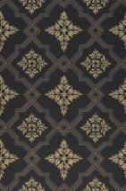 Wallpaper Lavinia Hand printed look Matt Historic damask Rhombuses Anthracite Beige grey Gold