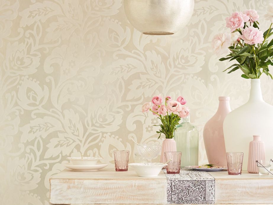 Flock Wallpaper Wallpaper Aphrodite cream Room View