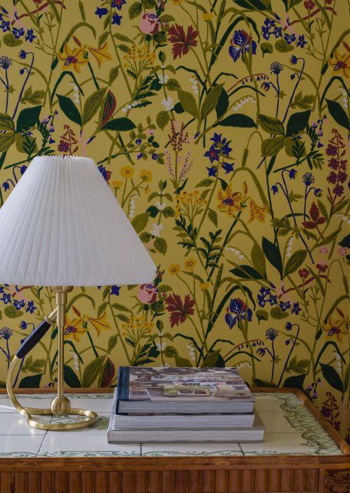 Papel de parede floral Papel de parede Annelie amarelo Ver ambiente