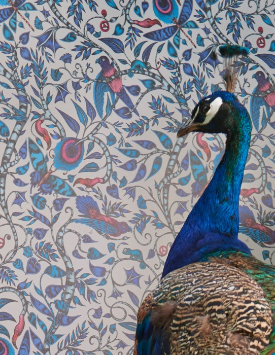 Carta da parati Rubi Opaco Foglie viticci Uccelli Bianco Toni di blu Grigio chiaro  Rosa Nero
