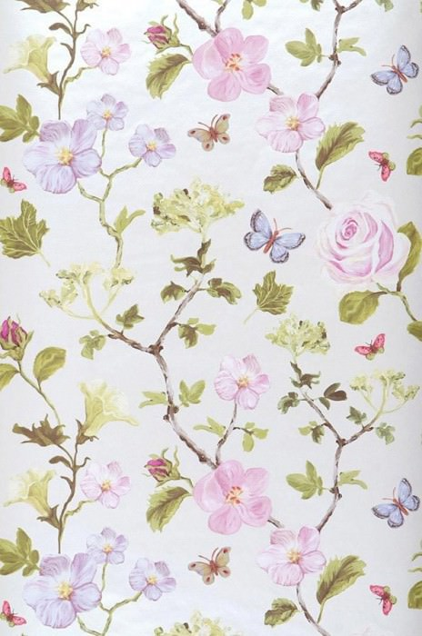 Wallpaper Laura Matt pattern Shimmering base surface Blossoms Butterflies Branches Oyster white Pale red violet Brown Green