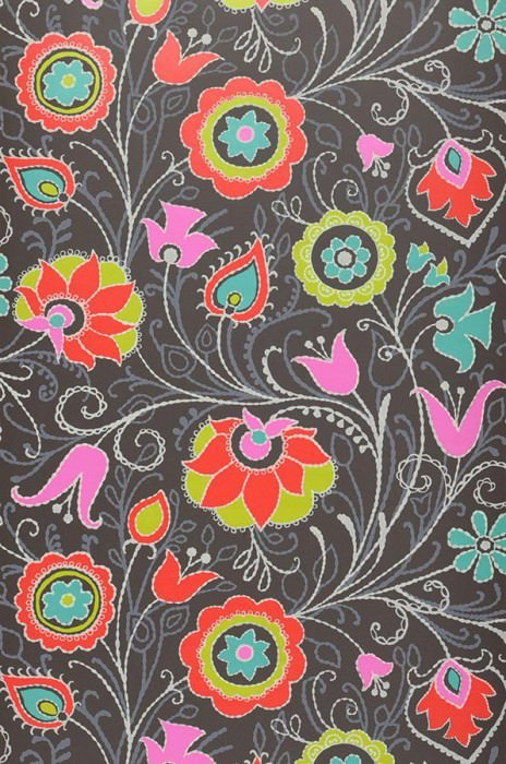 Wallpaper Flora Matt Stylised flowers Black grey Yellow green Grey white Pink Red Turquoise