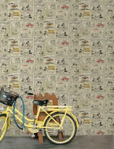 Wallpaper 1930s Mickey and Minnie Matt Mickey Mouse Light ivory Anthracite Ochre brown Ochre yellow