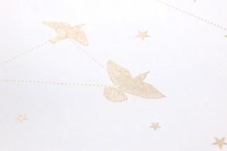 Papier peint Hermine Motif chatoyant Surface mate Étoiles Oiseaux Blanc crème Or nacré