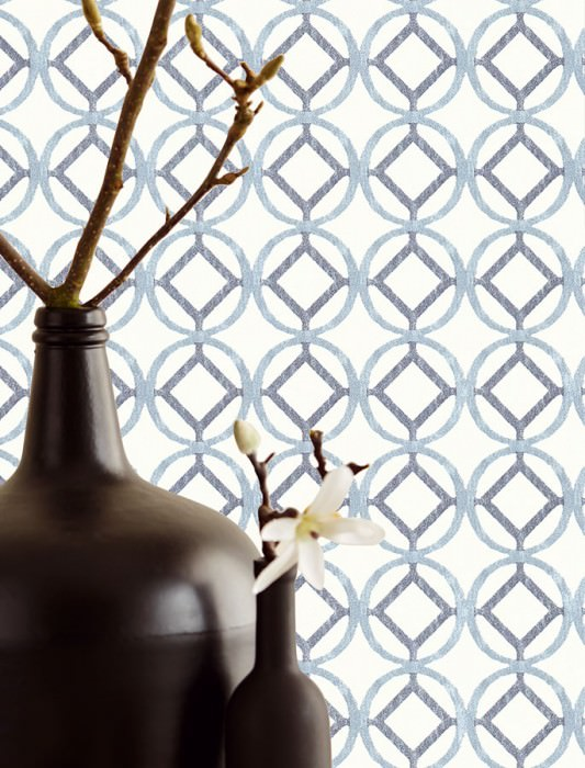 Wallpaper Larmuss Matt Circles Squares White Grey blue Pigeon blue