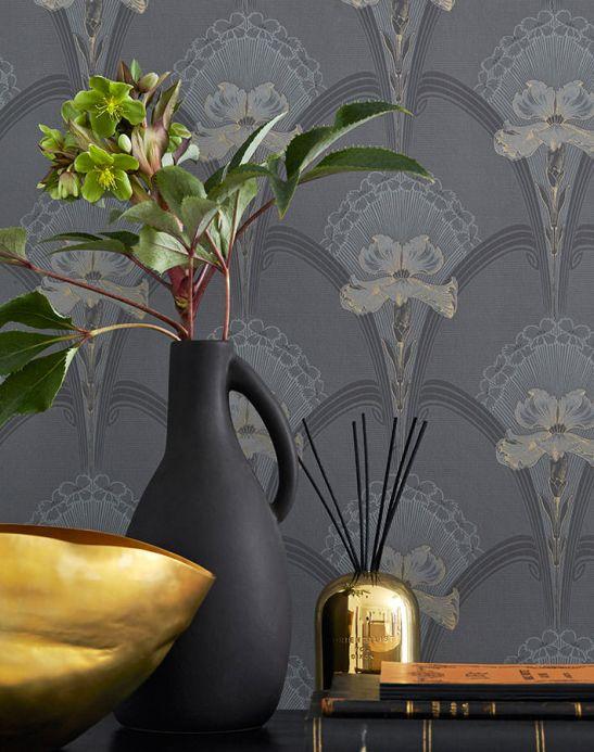 Papel pintado Art Nouveau Papel pintado Liandra gris Ver habitación