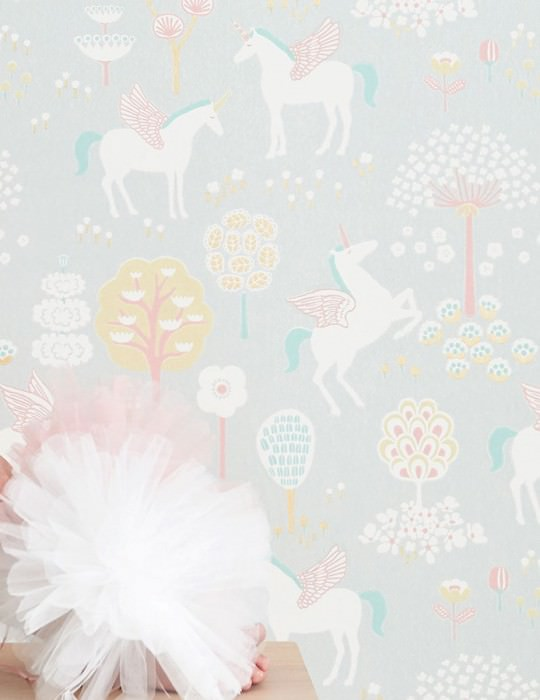 Wallpaper True Unicorns Hand printed look Matt Trees Flowers Unicorns Light grey Antique pink Cream Light yellow Ochre shimmer Pastel green
