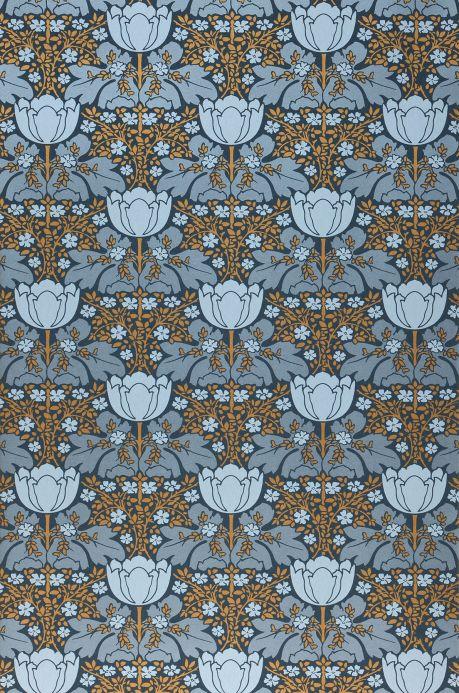 Papier peint art nouveau Papier peint Marina gris bleu nacré brillant Largeur de lé