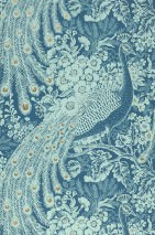 Wallpaper Izanuela Matt Peacocks Branches with leaves and blossoms Green blue Pastel turquoise Pearl gold Pastel green