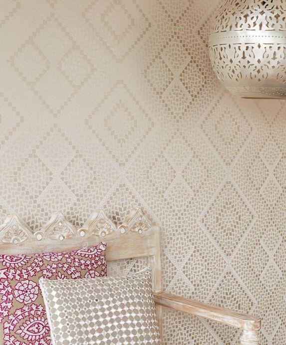Papel pintado perlas de vidrio Papel pintado Yamuna beige grisáceo Ver habitación