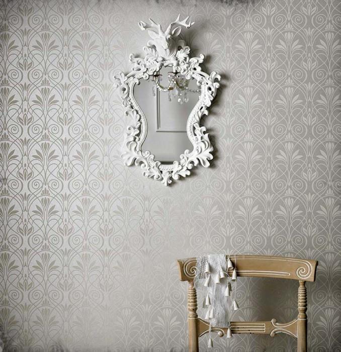 Wallpaper Lakshmi Matt pattern Shimmering base surface Historic damask White silver Cream